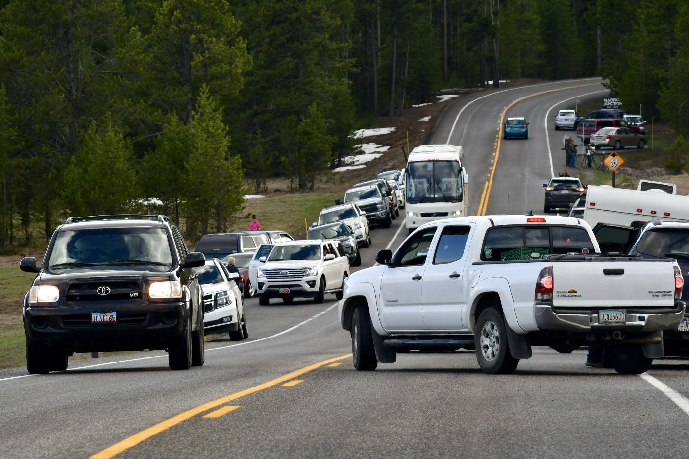 Viele Autos parken am Straßenrand, Bus kommt nicht mehr an ein- und ausparkenden Autos auf schmaler Straße im Yellowstone Nationalpark vorbei